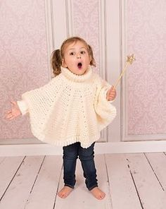 This is adorable - Thomasina Cummings Design new poncho pattern!!! Baby through adult sizes!!! ROLL NECKED PONCHO WITH CABLE RIB AND SLEEVE CUFFS