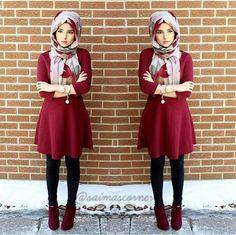 Smart and cute hijab outfits Hijab Chic, Hijab Style Dress, Hijab Look, Casual Hijab Outfit, Islamic Fashion, Muslim Fashion, Modest Fashion, Hijab Fashion, Girl Fashion