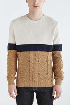 Vanishing Elephant Mixed Stitch Colorblocked Sweater