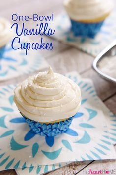 One-Bowl Fluffy Vanilla Cupcakes ~ light and moist, easy to make, and the perfect medium for your favorite frosting, like this creamy, not-too-sweet, cooked buttercream   FiveHeartHome.com