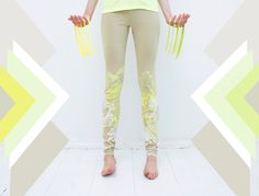 White and yellow print leggings. $50,00, via Etsy. would be the perfect fresh outfit for yoga :)
