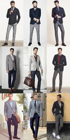 navy blazers and gray suit
