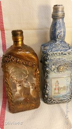 Декор предметов Декупаж Морская и Лесная бутылочки маленький МК Бутылки стеклянные Крупа Материал природный Салфетки фото 1