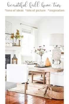 Fall home tour with lots of inspiration and ideas to use in your own home. Home decor ideas too. Fall decorating never looks easier! Fall Home Decor, Autumn Home, Farmhouse Décor, Concept Home, Home Board, Under The Table, Country French, Inspired Homes, Porch Decorating