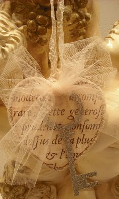 Christmas Ornament...Vintage Inspired French  Key To My Heart/French Script/Tulle/Glittered Key