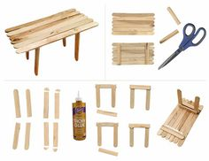 Art Projects for Kids: How to Make a Popsicle Table. Step-by-step PDF tutorial. Fairy Furniture, Barbie Furniture, Miniature Furniture, Dollhouse Furniture, Popsicle Stick Art, Popsicle Stick Crafts, Craft Stick Crafts, Sticks Furniture, Projects For Kids