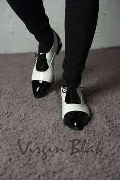 Black and White Patent Leather Lace Up oxfords by Virgin Blak