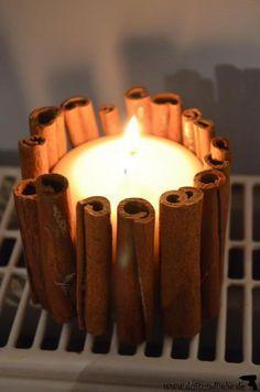 DIY Deko für Advent, Weihnachten oder einfach den ganzen Winter: Kerze mit Zimtstangen - duftundliebe