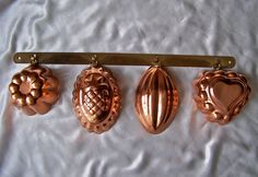 Vintage Solid Copper Miniature Kitchen Molds by cynthiasattic, $24.00