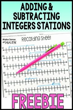 Adding and Subtracting Integers Stations Integers Worksheet, Adding And Subtracting Integers, Math Tutor, Math Education, Algebra Activities, Math Games, Integer Rules, Seventh Grade Math, Number Lines