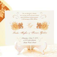 Invitación de boda elegante y romántica, con elegante patron floral en tonos marrones, cremas y dorados.  Damasco www.azulsahara.com