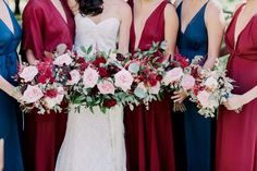 Marsala Navy Gold Wedding Bouquet / http://www.deerpearlflowers.com/burgundy-and-navy-wedding-color-ideas/