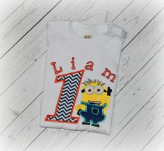 DESPICABLE ME MINION Blue Chevron Personalized Birthday Top, Shirt or Bodysuit. Personalized with name, number and color scheme of choice!