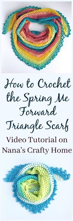 Crochet Shawl Spring Me Forward Triangle Scarf Free Crochet Pattern Tutorial - The video tutorial to make the popular Spring Me Forward Triangle Scarf free crochet pattern you can find at Nana's Crafty Home! Crochet Poncho Patterns, Crochet Shawls And Wraps, Shawl Patterns, Crochet Scarves, Knitting Patterns, Crochet Cowls, Knitting Ideas, Crochet Clothes, Free Knitting