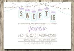 Printable Vintage Sweet 16 Birthday Invitation