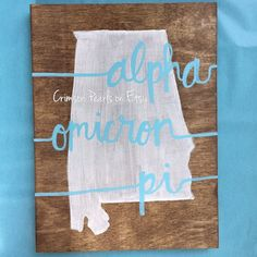 Custom Sorority and State Wooden Canvas Please leave the state you would like in the note to seller box along with the color of writing! Choose