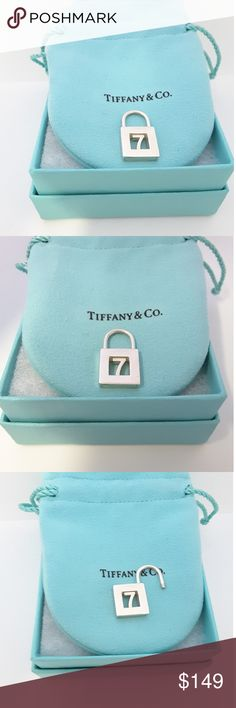 """Tiffany & co number seven  """"7"""" Lock Padlock Charm Tiffany &co Lock Padlock Charm Pendant for  Bracelet /Necklace  The padlock pendant that is perfect for any necklace or bracelet that you already own!  The padlock opens and closes so can be taken on or off any bracelet or necklace  No longer in production, it is a wonderful Tiffany piece to start or add to your collection.  The item is hallmarked and guaranteed to be 100% authentic.  Hallmarks: Tiffany & Co. 925  Mint  condition. Tiffany…"""