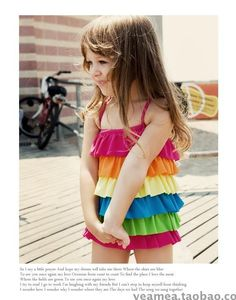 free shipping Little Girls Designer Rainbow Swimwear Ruffled LayersTankini kid swimsuit beachwear $10.60