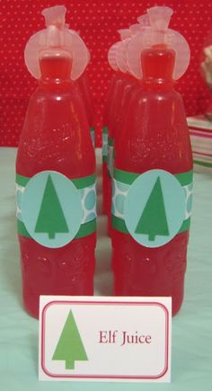 """Elf Juice""....super cute for a kid party"