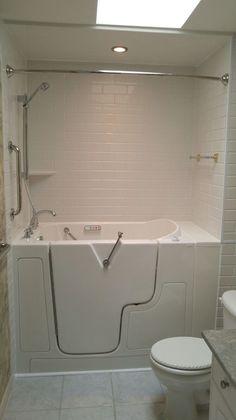 Shower Door Installed Onto A Walk In Tub In  Shower