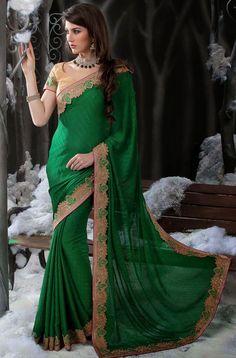 Ravishing Forest Green #Saree