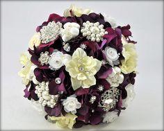 Wedding bouquetbridal bouquetpaper flowerbrooch bouquetroses ready to ship purple plum hierloom bridal bouquet plus boutonniere purple brooch bouquet medium 8 inch mightylinksfo
