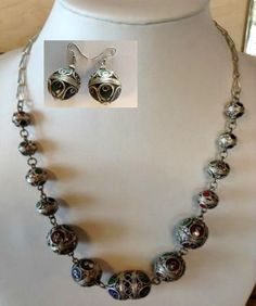 Moroccan Berber Tribal Necklace & Earrings Set Enameled Metal Beads Ethnic Bead  #MoroccanBerber