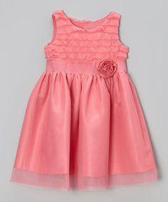 Loving this Jayne Copeland Coral Eyelash Tulle Dress - Toddler & Girls on #zulily! #zulilyfinds