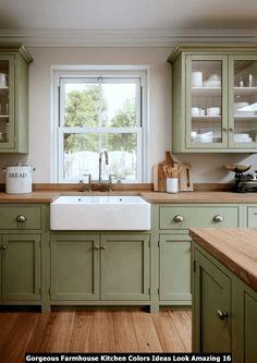 Green Kitchen Cabinets, Farmhouse Kitchen Cabinets, Kitchen Cabinet Colors, Kitchen Colors, Farmhouse Kitchens, Farmhouse Furniture, Modern Farmhouse, Kitchen Cupboards, Rustic Modern