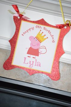 Peppa Pig Birthday Door/Wall Sign by MonicaDawnDesigns on Etsy, $15.00