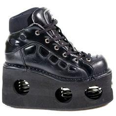 New Rock Boots - 1002 - Black Neptune Spring Platform Ankle Boot