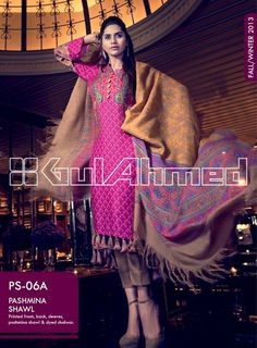 Gul Ahmed Pashmina Shawl Fall/Winter Collection 2013: Gul Ahmed Pashmina Shawl recently launched new Collection autumn/winter 2013.Gul that ahmed was founded in 1953. Since 1953, it showcased so ma…