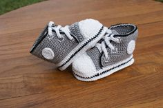 Grey with Black Trim Crochet Baby Converse Shoes by KatiDCreations, $33.00