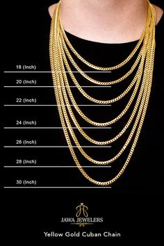 Metal Yellow Gold Metal Purity Style Pave Cuban Chain Fastening Lobster Clasp Weight Grams to Grams Width Length 18 Inch - 24 Inch Width Length Weight 18 Inches Grams 20 Inches Grams 22 Inches Grams 24 Inches Grams Gold Necklace For Men, Mens Chain Necklace, Gold Chains For Men, Mens Chains, Gold Pendants For Men, Gold Chain Design, Gold Jewelry Simple, Necklace Designs, Fashion Necklace