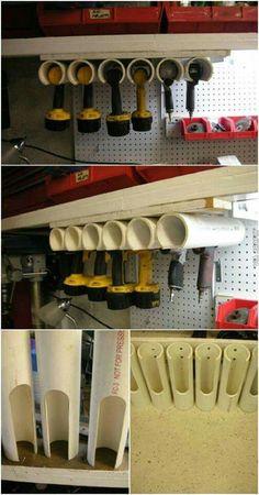 Diy garage attic storage and diy garage storage pvc. This diy garage storage sys… Workshop Storage, Shed Storage, Garage Storage, Pvc Storage, Outdoor Storage, Storage Systems, Power Tool Storage, Storage Center, Garage Shelving