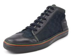 Gucci Mens Shoes 8.5, US 9.5 GG Canvas & Leather High Top Sneakers 163236 Black