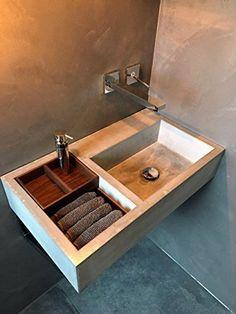 Betonwaschbecken / Beton Design Waschbecken / Aufsatzwaschbecken 100% Beton  70x40x16 Cm
