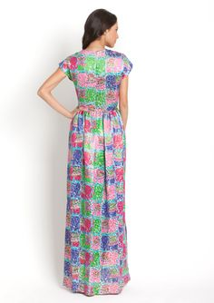 JULES REID Mcpherson High Neck Cap Sleeve Maxi Dress