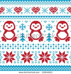 Christmas and Winter knitted pattern with penguins - scandynavian sweater style by RedKoala #nordicpattern #xmas