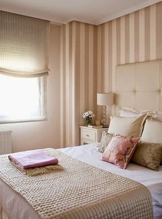 idea for champagne striped bathroom walls. Striped Bathroom Walls, Striped Walls, Feminine Bedroom, Trendy Bedroom, Beach Bedding Sets, Indian Home Interior, Cheap Bed Sheets, Master Bedroom Makeover, Trendy Home