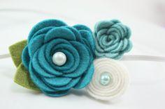 Teal Felt Flower Headband by BlueSkyDesignsCo on Etsy, $9.50
