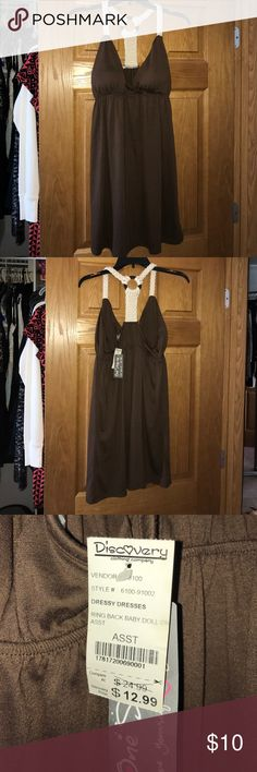 XL Brown Babydoll Dress with crocheted back Crocheted t-back detail with a wooden ring One Step Up Dresses Mini