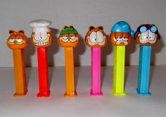 Garfield Pez Candy Dispensers 1978 Set Of Six by SusieSellsVintage, $15.00
