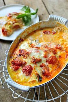 Lasagne van aubergines met kerstomaten en ricotta