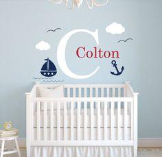 Nautical Anchor With Little Cute Ship Wall Sticker Custom Boys Name Nursery Kids Bedroom Art Decor Lovely Wall Mural Sticker M-3