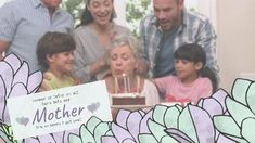 A creative video template for a happy birthday mom post. A sweet video showing a family gathering with the mom blowing out the candles. Birthday Cards For Mom, Happy Birthday Mom, Creative Video, Place Card Holders, Candles, Templates, Sweet, Candy, Mom Birthday Cards