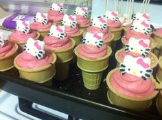 Hello Kitty ice cream cone cupcakes