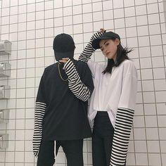 Polera Mujer 2017 Woman Fashion Tee Shirt Korean Style Ulzzang Harajuku False Two Piece Striped T-shirt Women Long Sleeve Top Style Ulzzang, Ulzzang Fashion, Retro Outfits, Grunge Outfits, Fashion Outfits, Striped Long Sleeve Shirt, Long Sleeve Shirts, Outfits With Striped Shirts, Shirt Outfit