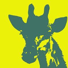 giraffe-silhouette-yellow-aqua-ramona-johnston.jpg (600×601)
