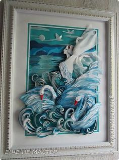 Лебединое озеро. | Страна Мастеров Quilling Comb, Paper Quilling, Under The Sea, Art Pieces, Simple, Frame, Bowling Pins, Paper Mache, Picture Frame